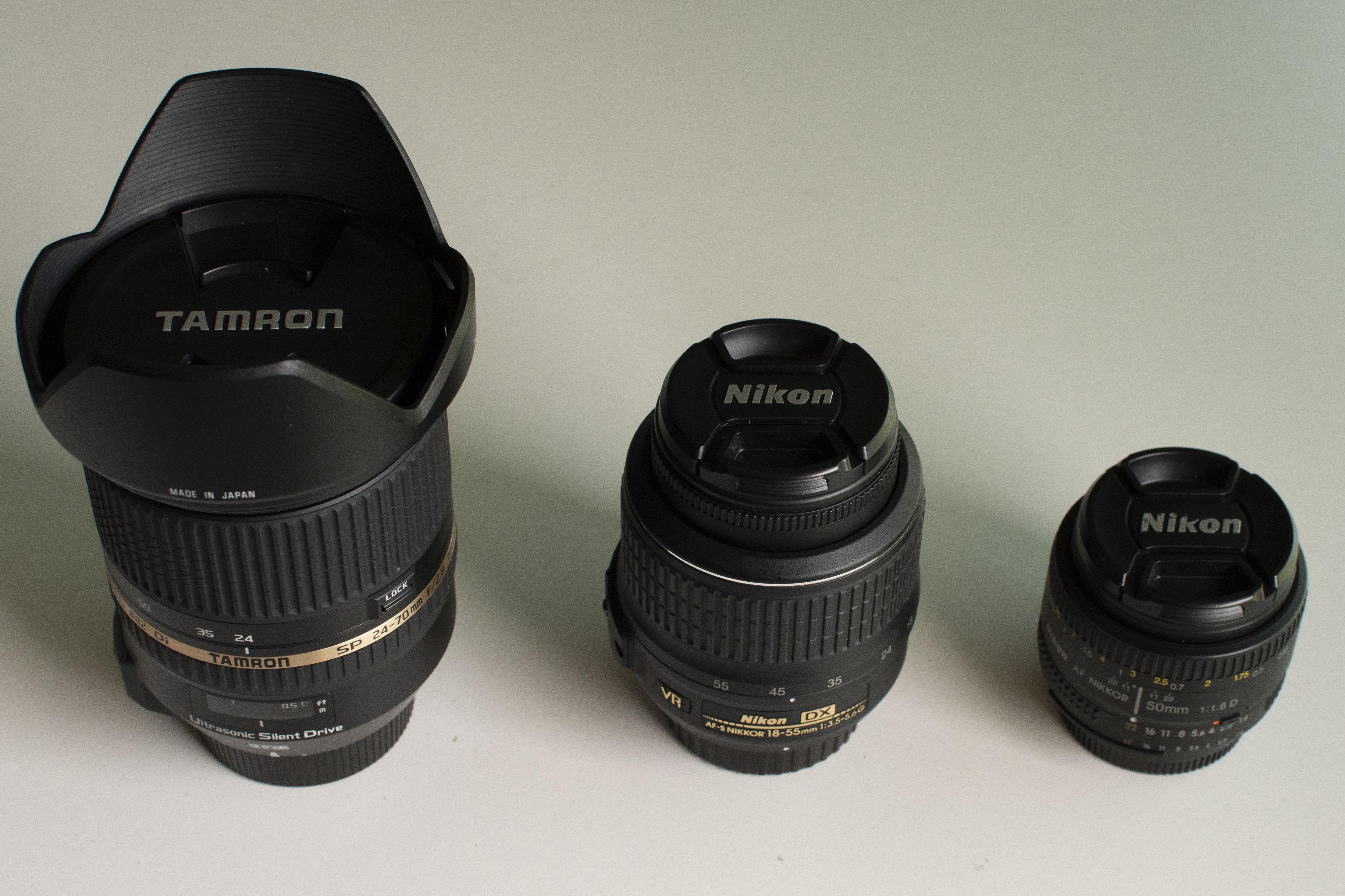 Tamron 24-70mm f/2.8 / Nikon 18-55mm f/3.5-f/5.6 / Nikon 50mm f/1.8 Lenses